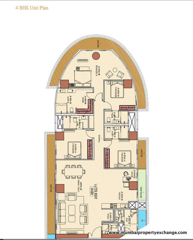 Aquaria Grand A Wing 4 BHK Floor Plan