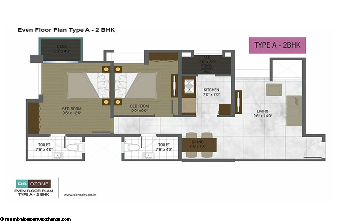 Orchid Ozone Building  DB Ozone Even floor plan type A-2BHK