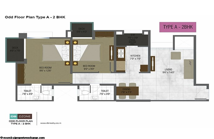 Orchid Ozone Building  DB Ozone odd floor plan type A-2BHK