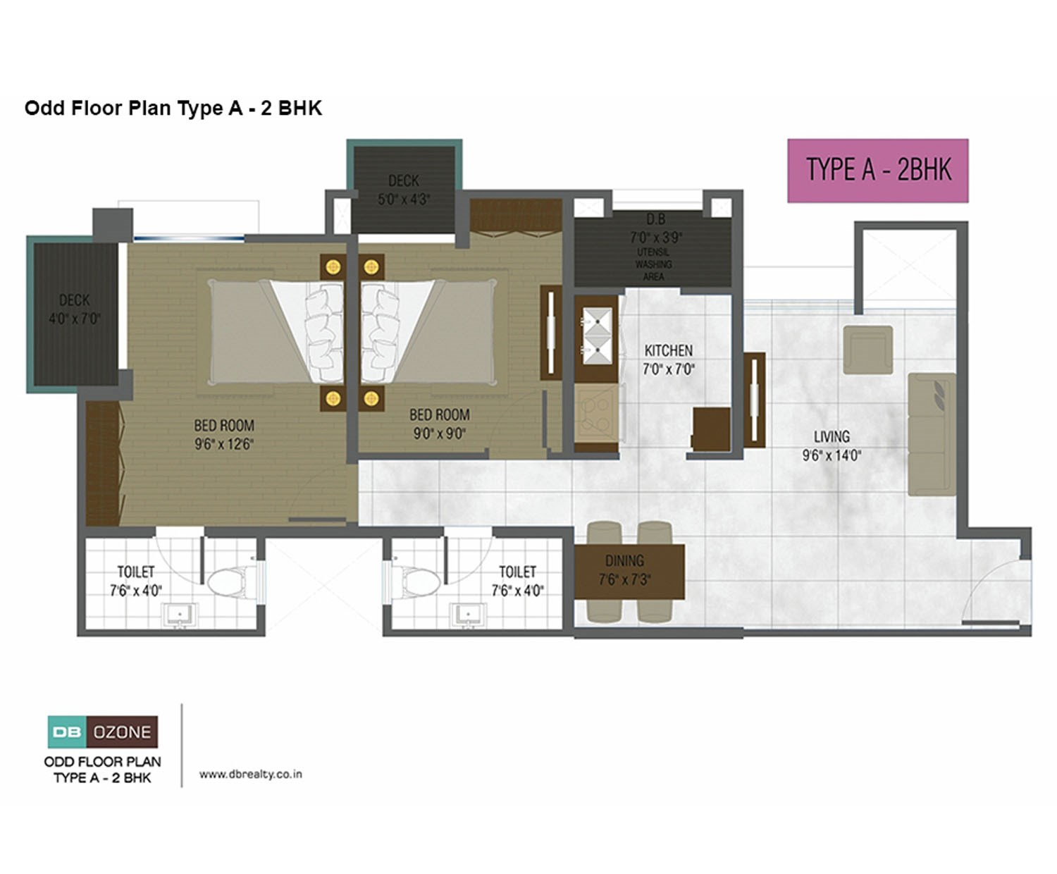 DB Ozone odd floor plan type A-2BHK