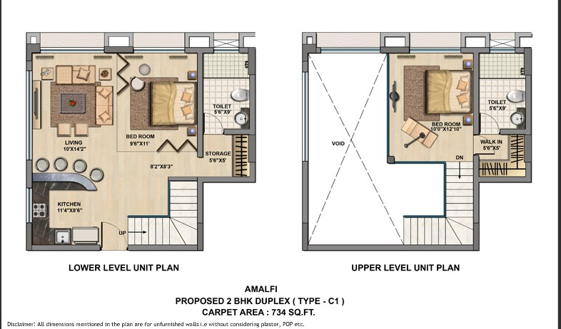Unit Plan 2 BHK Duplex