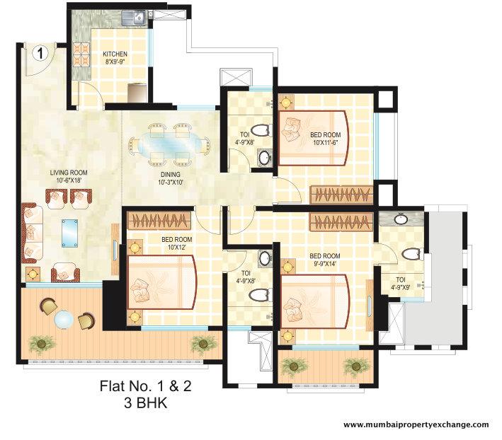 4841 Oth Floor Plan 1  - Dosti Ambrosia, Wadala