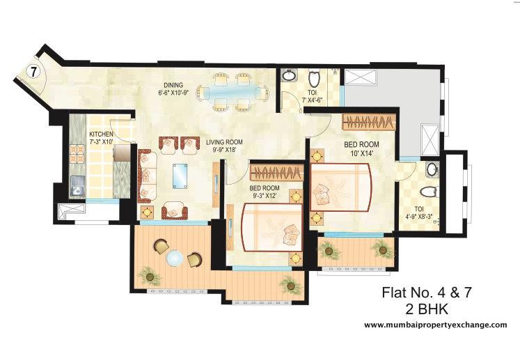 4841 Oth Floor Plan 3  - Dosti Ambrosia, Wadala