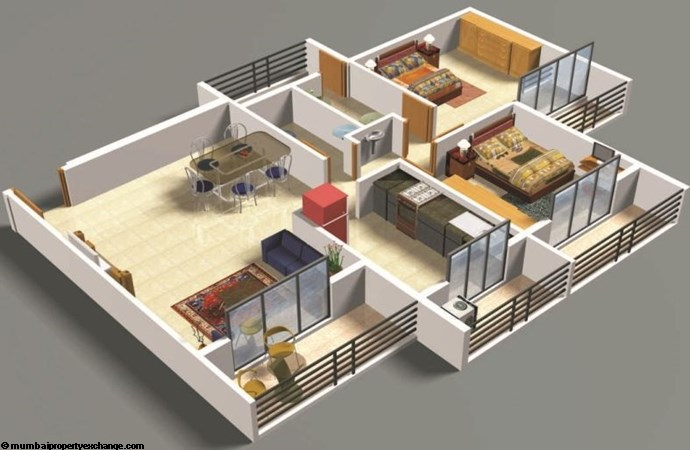 Nandanvan Homes 2BHK Floor Plan