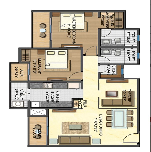 Casa Rio Gold Unit Plan 2 BHK
