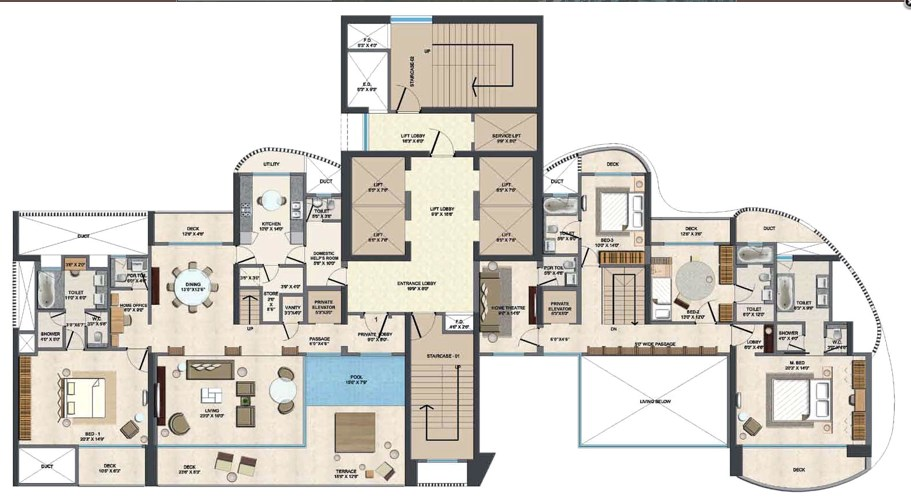 Lodha Fiorenza Milano Duplex Lower Floor Plan