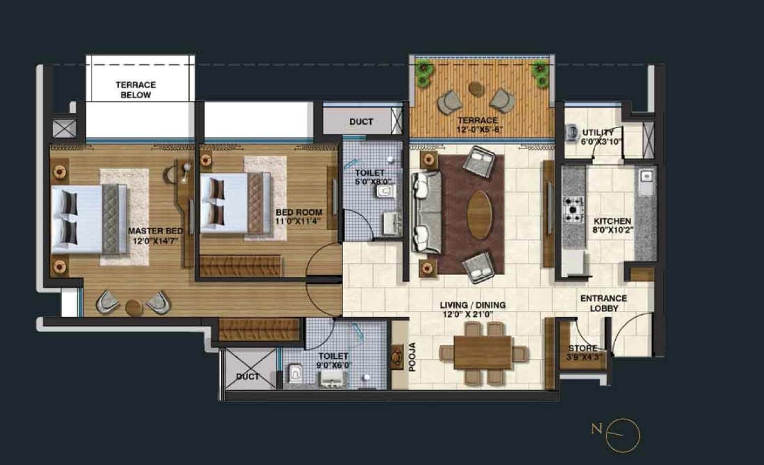 Lodha Belmondo 2 BHK Small Unit Plan