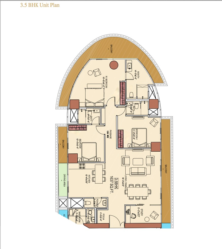 Aquaria Grande B Wing 3.5 BHk Floor Plan