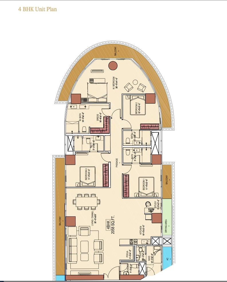 Aquaria Grande B Wing 4 BHk Floor Plan