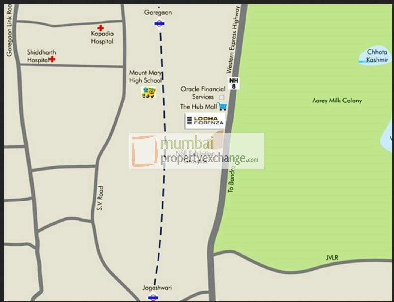 Lodha Fiorenza Roma Location Map