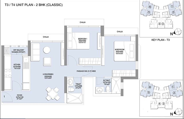 Emerald Isle 2 BHk Classic Unit Plan