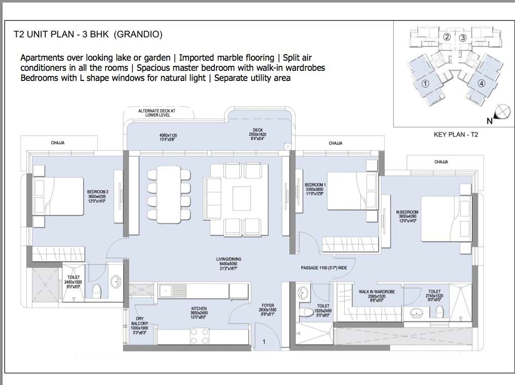Emerald Isle 3 BHK Grandio Unit Plan
