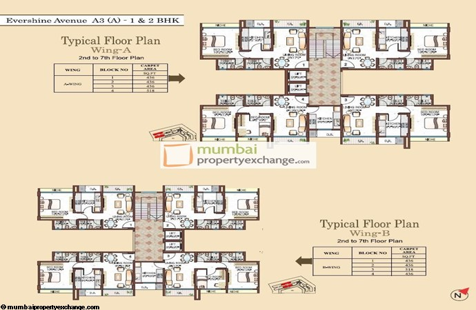 A3, 1&2BHK Floor Plan