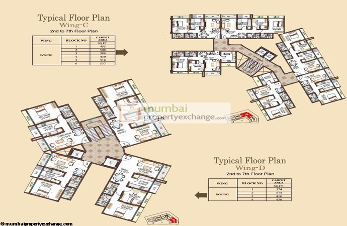 Evershine Avenue C wing Typical Floor Plan