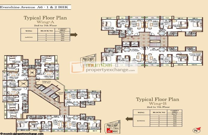 Evershine Avenue Wing A&B 2nd-7th Floor Plan