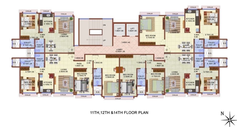 11th, 12th & 14th Floor Plan