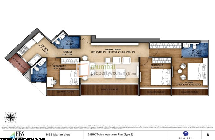 HBS Marine View 3 BHK Floor Plan