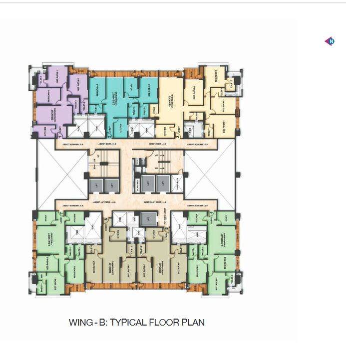 Adani Heights Typical Floor Plan of Wing B